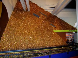 A wall of Crunchies at Cadbury World!