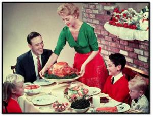 Serving up the traditional hot turkey for Christmas lunch!