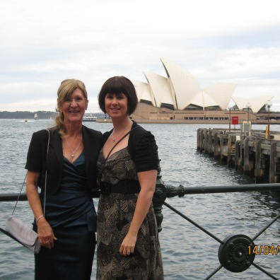 Mum and I on the Sydney Harbor, all dressed up for my Aunties Wedding..