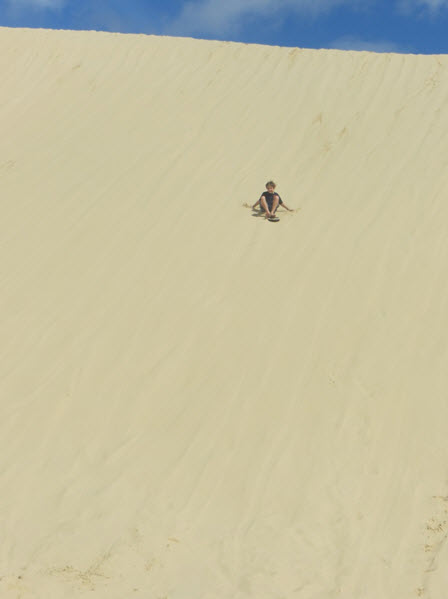 The highlight of the trip for the kids was extreme sand boarding on the dunes! The 4WD drive trip out into the sand dunes that never seemed to end, was adrenaline filled and exciting. It was the perfect spot to experience sand boarding for the first time.