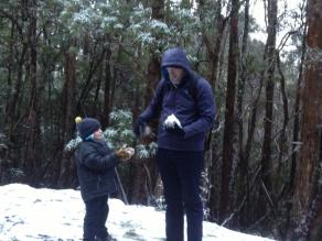 my son and husband having a snow fight on Mt Wellington - my son had never been in the snow before so it was truly a magical experience for him ... and all of us actually!