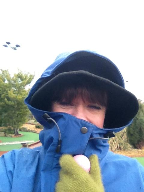 me all rugged up playing putt putt golf in gruesome weather but having a lot of fun at the same time! The thought of a hot chocolate in the club house after our game was never far from my mind though!