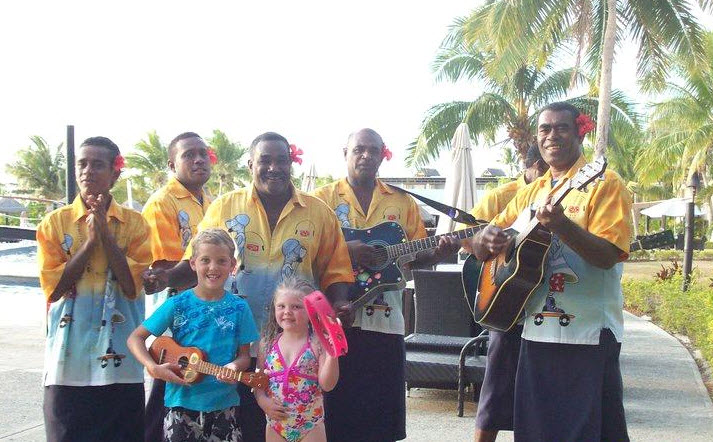 The friendly musicians at the resort