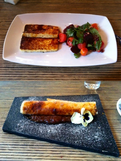 Haloumi with beetroot salad and a baked custard cigar on Rhubarb and cinnamon chutney. Yum!!! Perth
