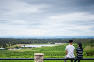 Enjoying the best view of the Hunter Valley at Audrey Wilkinson's vineyard - they boast a great Moscato too!