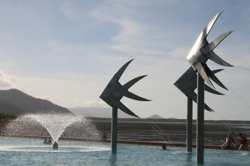 I loved the fished sculptures at the Cairns Swimming Lagoon in the centre of town. Beautiful modern art in a tropical setting for everyone to enjoy. The lagoon is huge with an idyllic outlook.