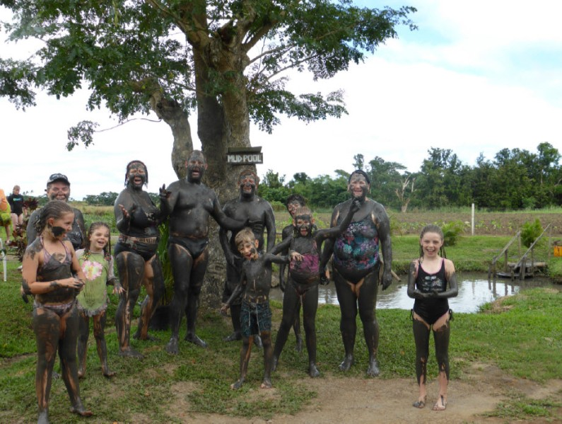 Scary moment - all of us coated in mud at the relaxing mud pool and spa