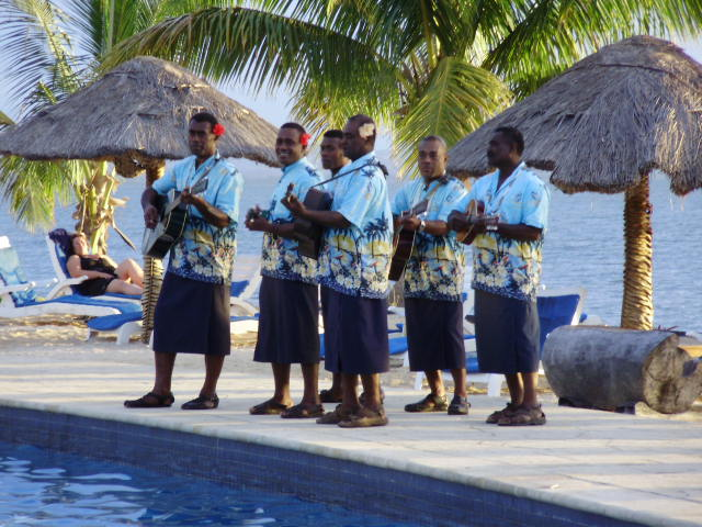 Fijian Band serenading by Pool every night during lighting ceremony