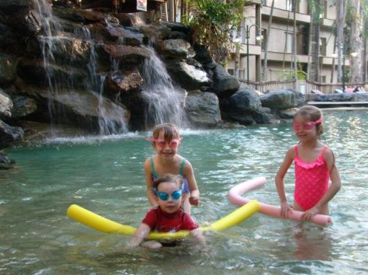 Fun by the Waterfall