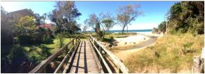 Cute little bridge walk to the quiet and peaceful Korora beach!
