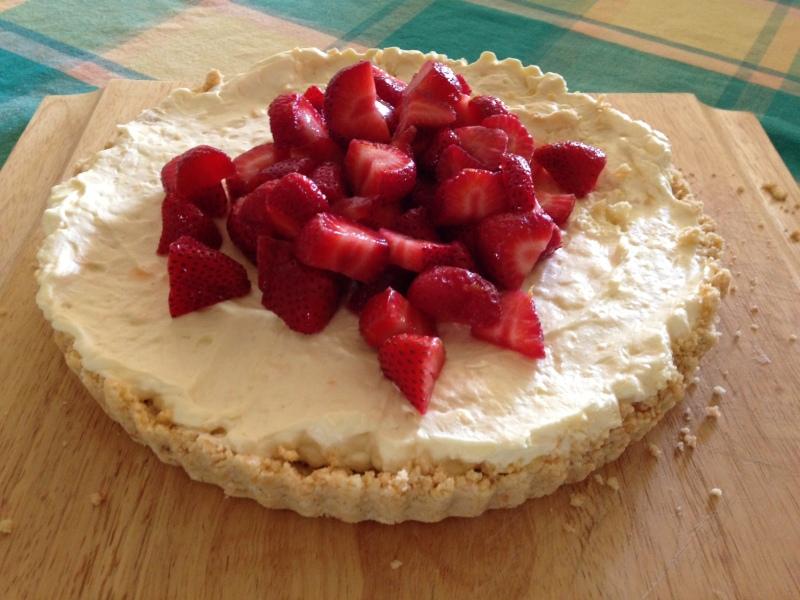Homemade Cheesecake with strawberries