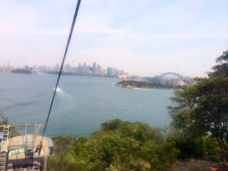 Catching the cable car all the way down to the ferry