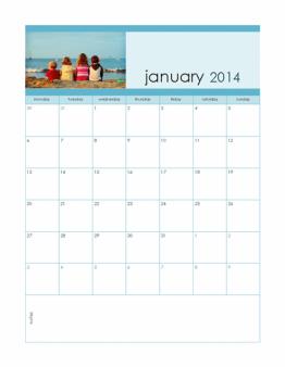 Microsoft 2014 Calendar template