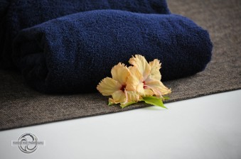 towels and hibiscus