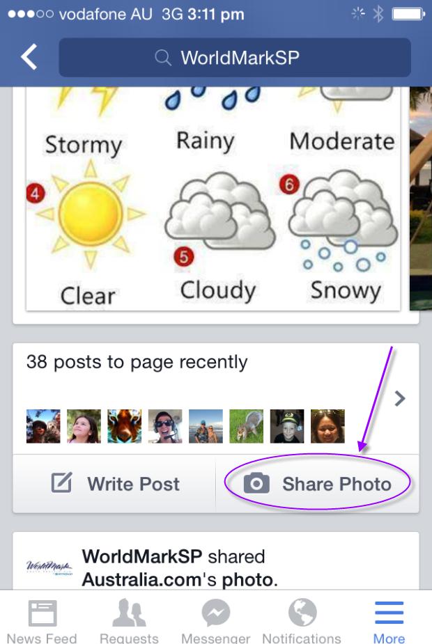 Add Photos via FB App on mobile device.